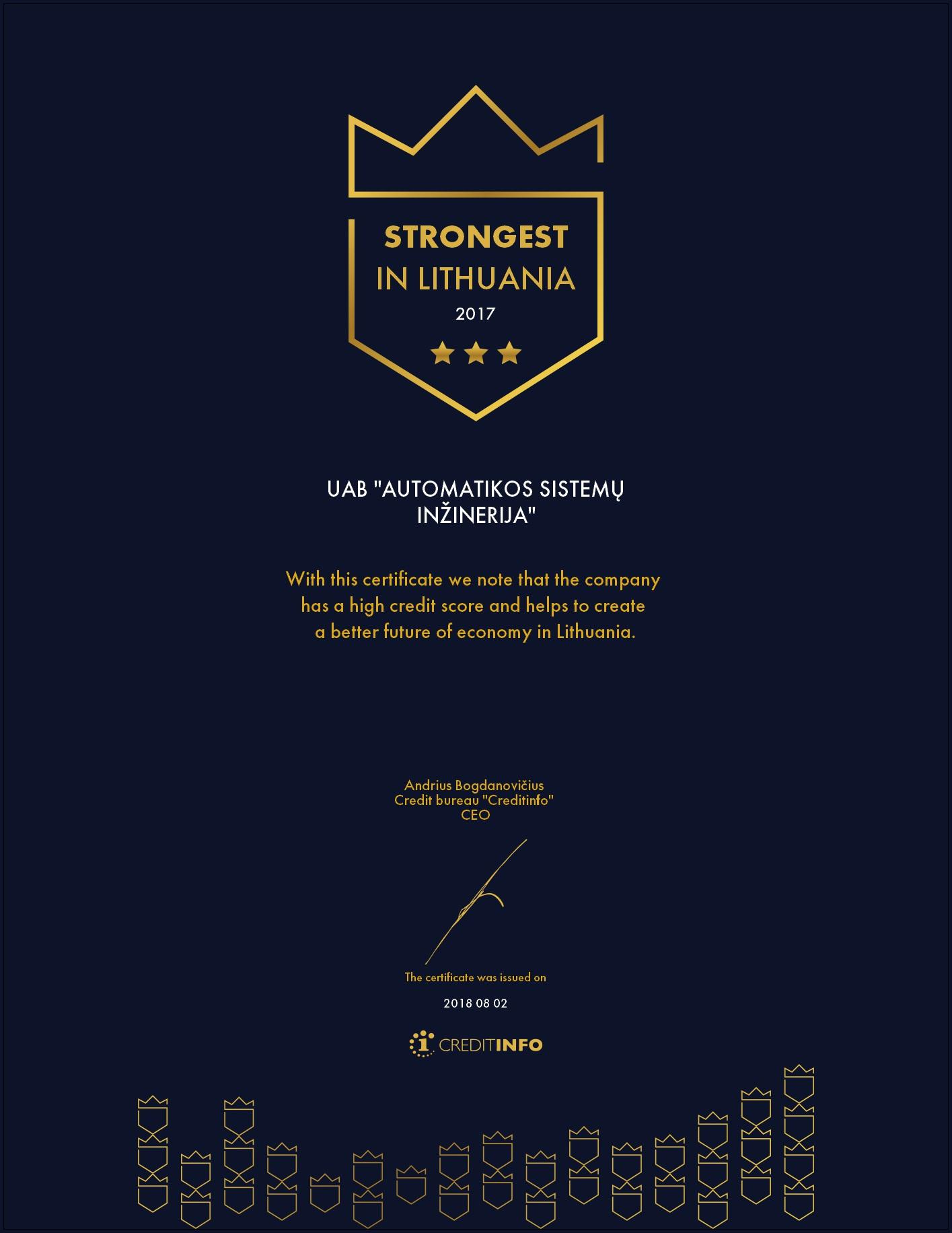El versijos sertifikatas  EN kalba